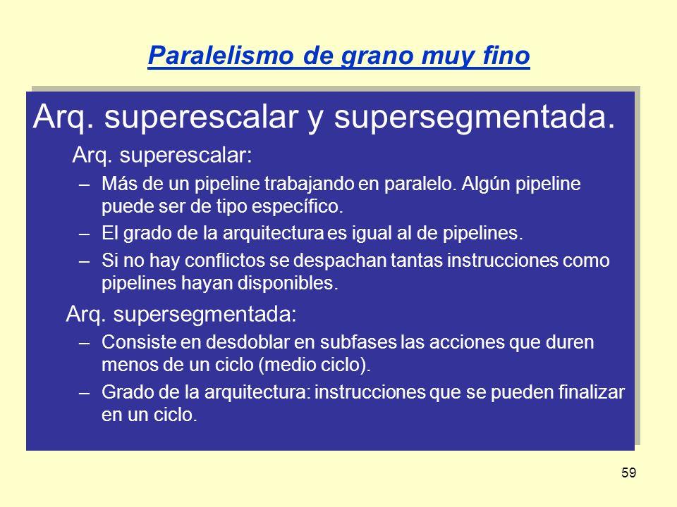 59 Arq. superescalar y supersegmentada. Arq. superescalar: –Más de un pipeline trabajando en paralelo. Algún pipeline puede ser de tipo específico. –E