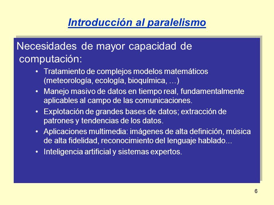 6 Necesidades de mayor capacidad de computación: Tratamiento de complejos modelos matemáticos (meteorología, ecología, bioquímica, …) Manejo masivo de