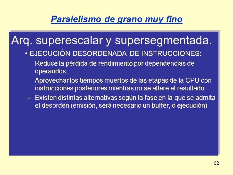 62 Arq. superescalar y supersegmentada. EJECUCIÓN DESORDENADA DE INSTRUCCIONES: –Reduce la pérdida de rendimiento por dependencias de operandos. –Apro