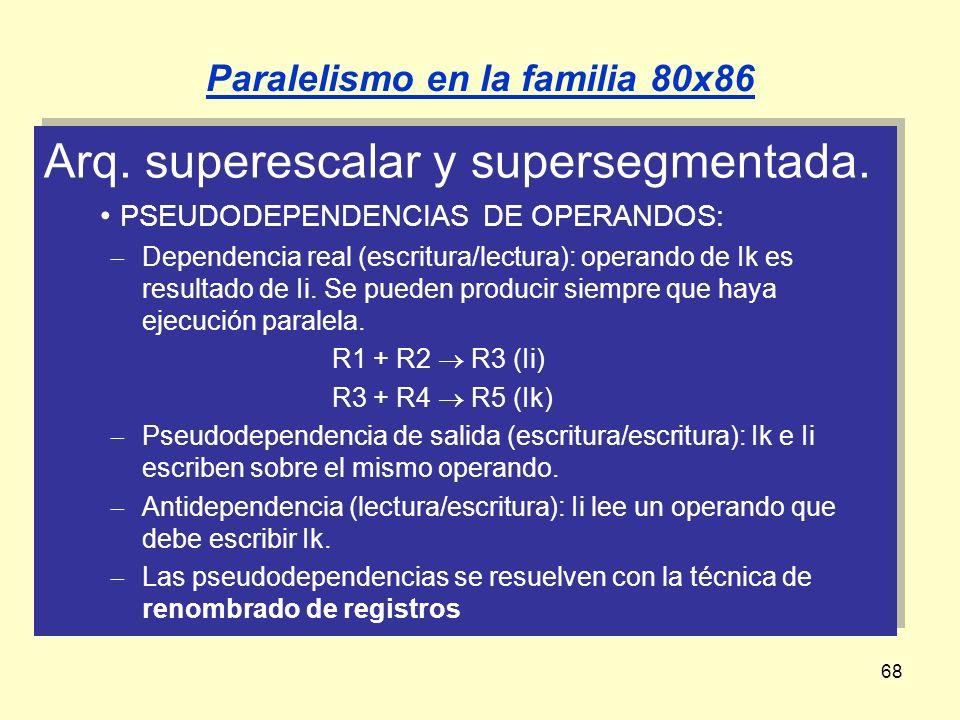 68 Arq. superescalar y supersegmentada. PSEUDODEPENDENCIAS DE OPERANDOS: Dependencia real (escritura/lectura): operando de Ik es resultado de Ii. Se p