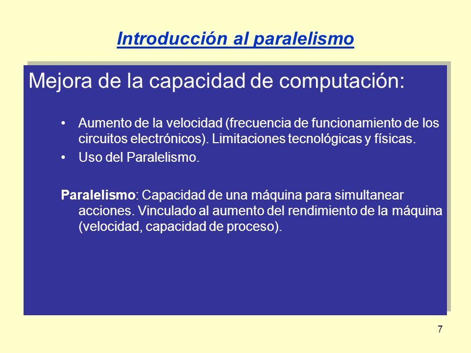 18 Grado de paralelismo: Número de acciones simultáneas que se realizan.