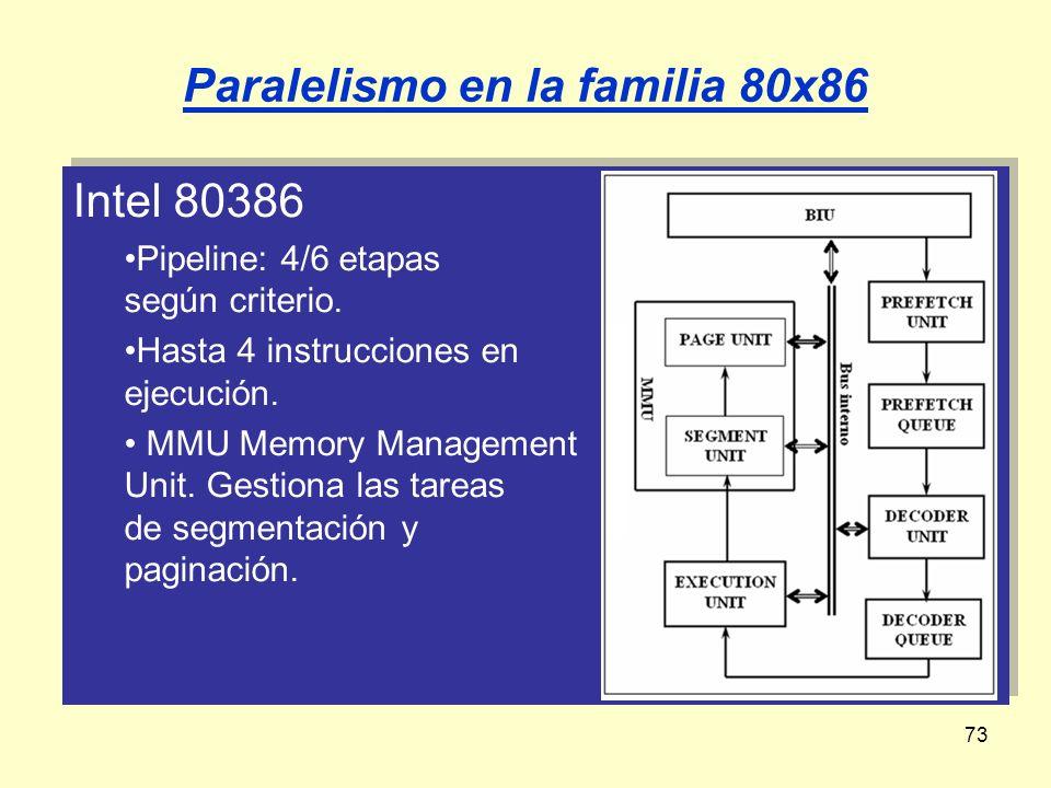 73 Intel 80386 Pipeline: 4/6 etapas según criterio. Hasta 4 instrucciones en ejecución. MMU Memory Management Unit. Gestiona las tareas de segmentació