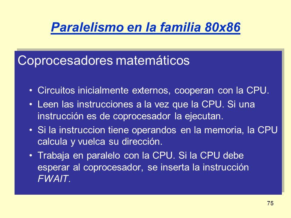 75 Paralelismo en la familia 80x86 Coprocesadores matemáticos Circuitos inicialmente externos, cooperan con la CPU. Leen las instrucciones a la vez qu