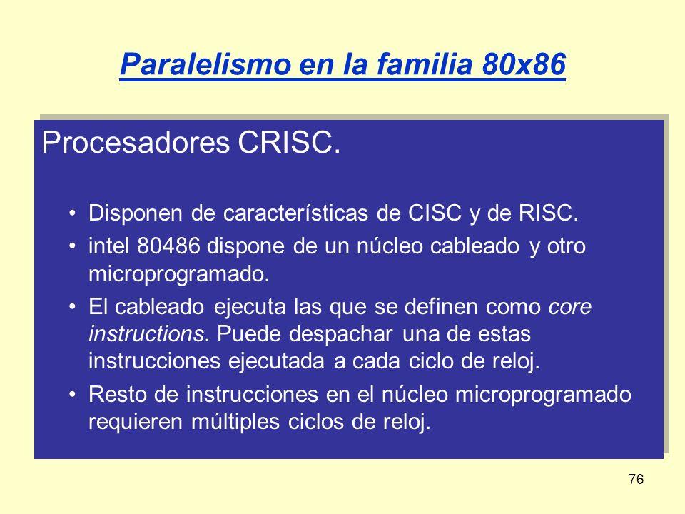 76 Paralelismo en la familia 80x86 Procesadores CRISC. Disponen de características de CISC y de RISC. intel 80486 dispone de un núcleo cableado y otro