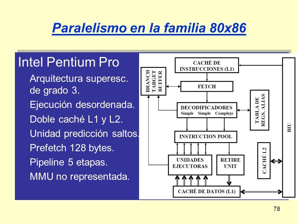 78 Paralelismo en la familia 80x86 Intel Pentium Pro Arquitectura superesc. de grado 3. Ejecución desordenada. Doble caché L1 y L2. Unidad predicción