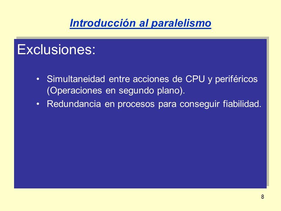 8 Exclusiones: Simultaneidad entre acciones de CPU y periféricos (Operaciones en segundo plano). Redundancia en procesos para conseguir fiabilidad. Ex