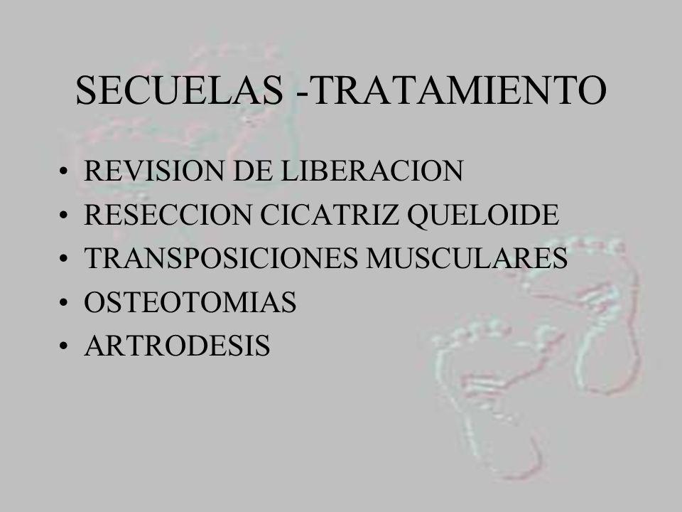 SECUELAS -TRATAMIENTO REVISION DE LIBERACION RESECCION CICATRIZ QUELOIDE TRANSPOSICIONES MUSCULARES OSTEOTOMIAS ARTRODESIS