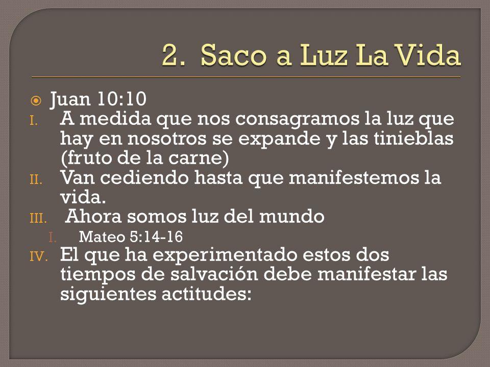 A.Frutos de la Salvación A. Lucas 3:8 B. No Anda en Tinieblas 1.