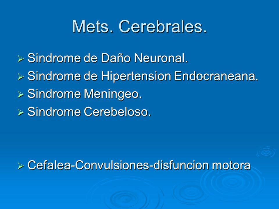 Mets. Cerebrales. Sindrome de Daño Neuronal. Sindrome de Daño Neuronal. Sindrome de Hipertension Endocraneana. Sindrome de Hipertension Endocraneana.