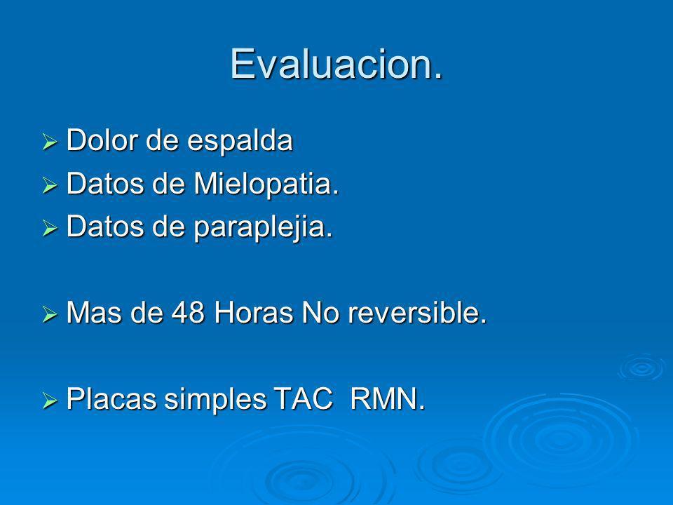 Evaluacion. Dolor de espalda Dolor de espalda Datos de Mielopatia. Datos de Mielopatia. Datos de paraplejia. Datos de paraplejia. Mas de 48 Horas No r