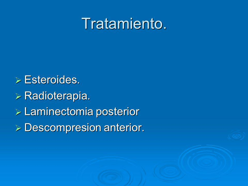Tratamiento. Esteroides. Esteroides. Radioterapia. Radioterapia. Laminectomia posterior Laminectomia posterior Descompresion anterior. Descompresion a