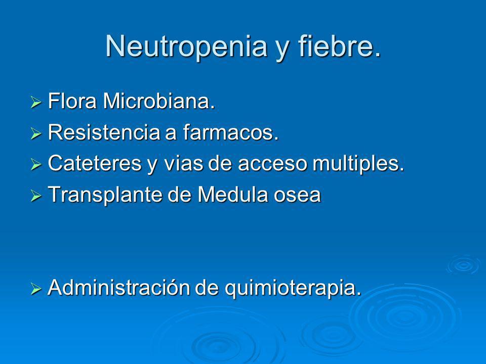 Neutropenia y fiebre. Flora Microbiana. Flora Microbiana. Resistencia a farmacos. Resistencia a farmacos. Cateteres y vias de acceso multiples. Catete