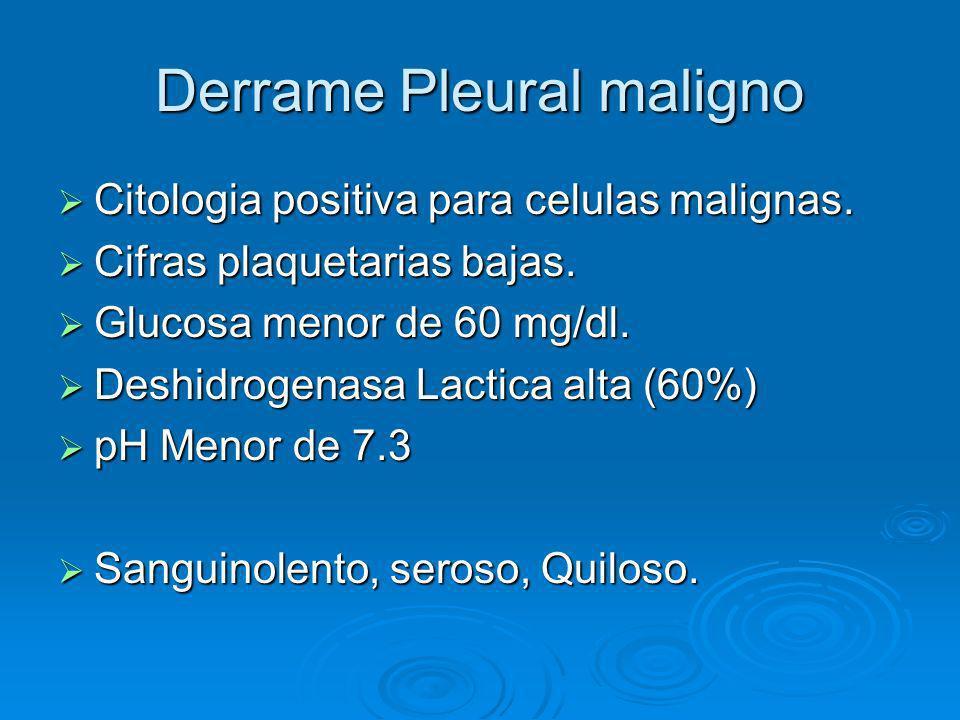 Derrame Pleural maligno Citologia positiva para celulas malignas. Citologia positiva para celulas malignas. Cifras plaquetarias bajas. Cifras plaqueta