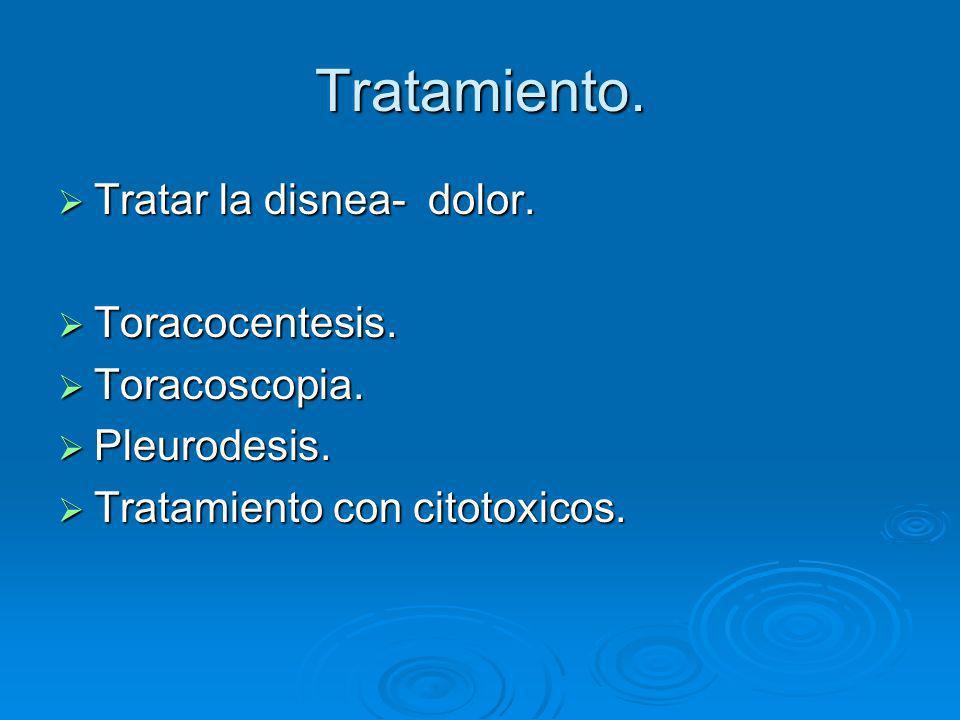 Tratamiento. Tratar la disnea- dolor. Tratar la disnea- dolor. Toracocentesis. Toracocentesis. Toracoscopia. Toracoscopia. Pleurodesis. Pleurodesis. T