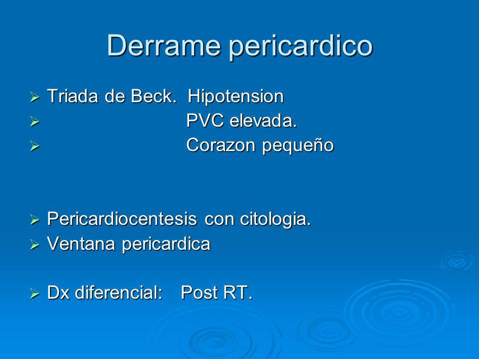 Derrame pericardico Triada de Beck. Hipotension Triada de Beck. Hipotension PVC elevada. PVC elevada. Corazon pequeño Corazon pequeño Pericardiocentes