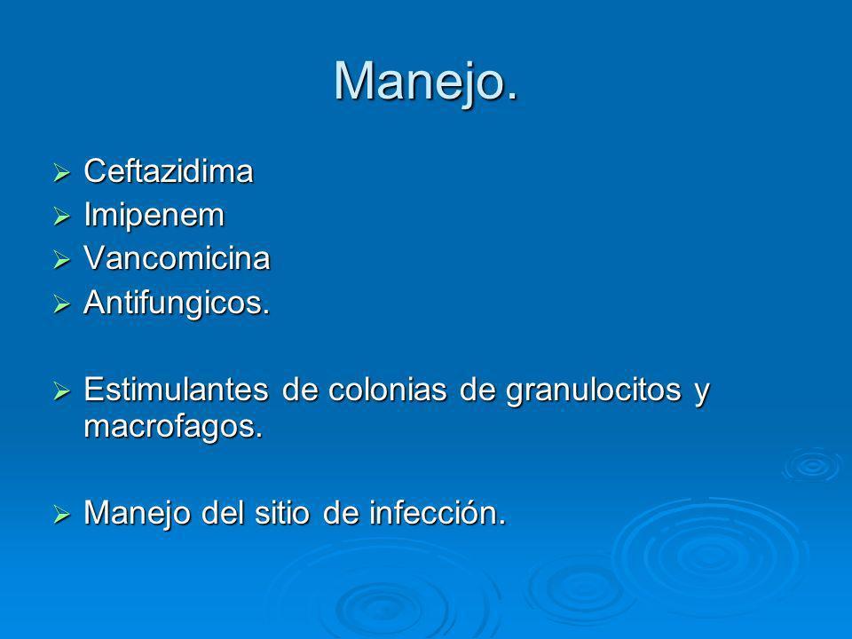 Manejo. Ceftazidima Ceftazidima Imipenem Imipenem Vancomicina Vancomicina Antifungicos. Antifungicos. Estimulantes de colonias de granulocitos y macro