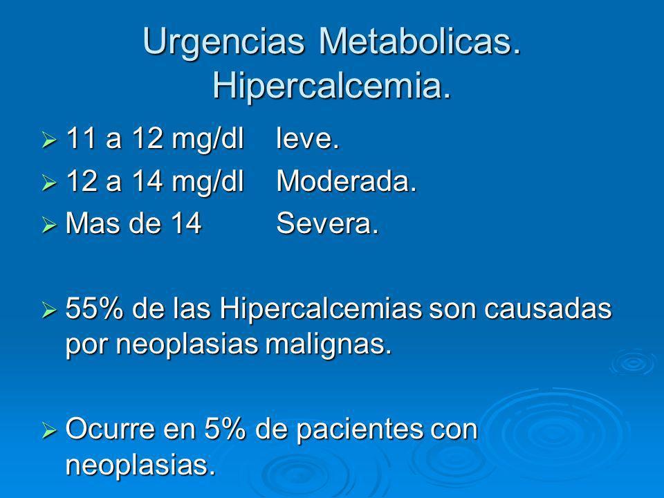 Urgencias Metabolicas. Hipercalcemia. 11 a 12 mg/dl leve. 11 a 12 mg/dl leve. 12 a 14 mg/dl Moderada. 12 a 14 mg/dl Moderada. Mas de 14 Severa. Mas de