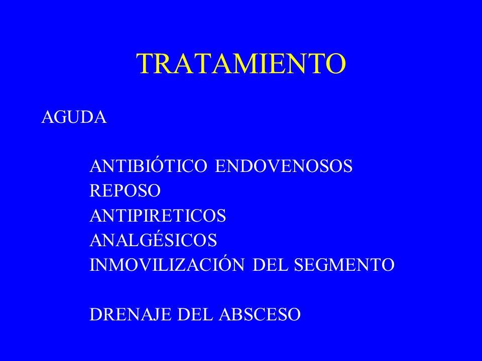 TRATAMIENTO AGUDA ANTIBIÓTICO ENDOVENOSOS REPOSO ANTIPIRETICOS ANALGÉSICOS INMOVILIZACIÓN DEL SEGMENTO DRENAJE DEL ABSCESO