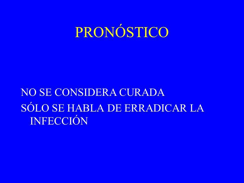 PRONÓSTICO NO SE CONSIDERA CURADA SÓLO SE HABLA DE ERRADICAR LA INFECCIÓN