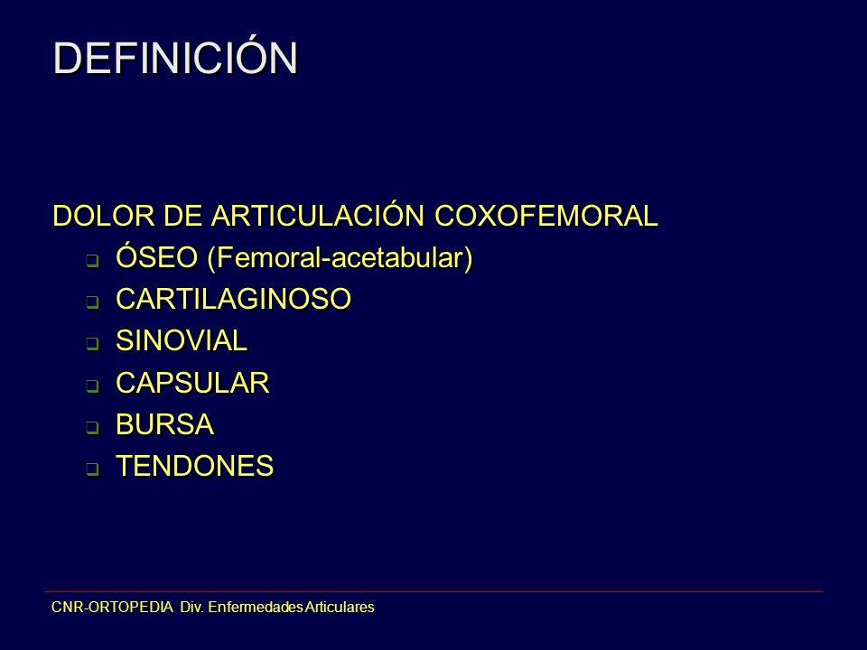 CNR-ORTOPEDIA Div. Enfermedades Articulares DEFINICIÓN DOLOR DE ARTICULACIÓN COXOFEMORAL ÓSEO (Femoral-acetabular) CARTILAGINOSO SINOVIAL CAPSULAR BUR
