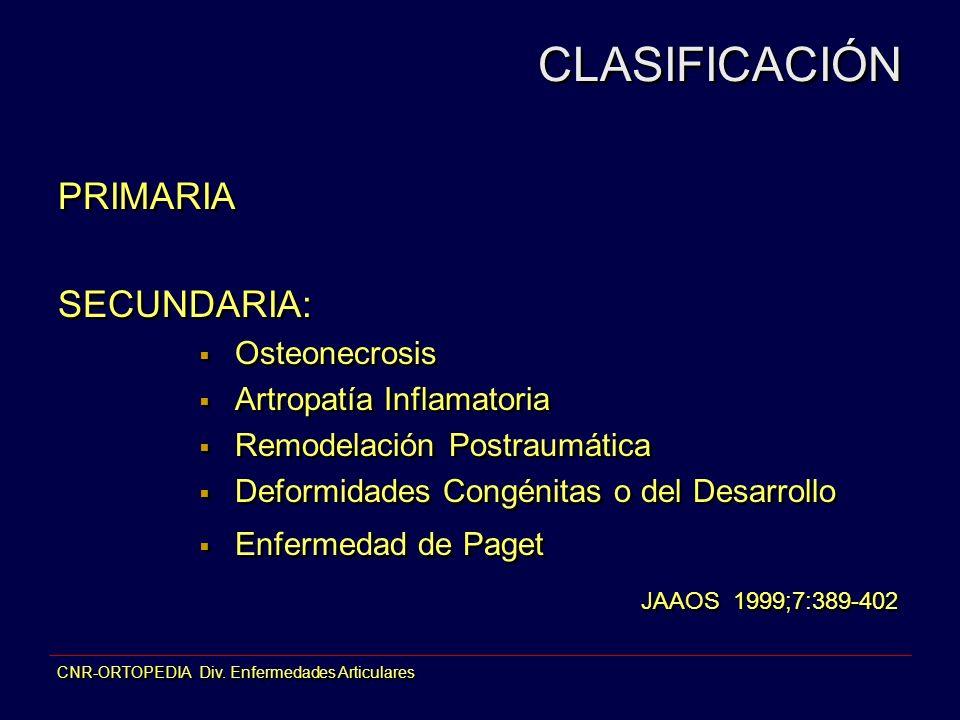 CNR-ORTOPEDIA Div. Enfermedades Articulares CLASIFICACIÓN PRIMARIA SECUNDARIA: Osteonecrosis Artropatía Inflamatoria Remodelación Postraumática Deform