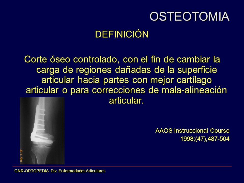 CNR-ORTOPEDIA Div. Enfermedades Articulares DEFINICIÓN Corte óseo controlado, con el fin de cambiar la carga de regiones dañadas de la superficie arti