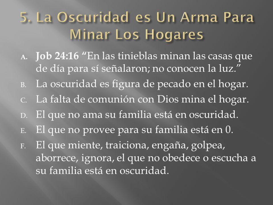 A. Job 24:16 En las tinieblas minan las casas que de día para sí señalaron; no conocen la luz. B. La oscuridad es figura de pecado en el hogar. C. La