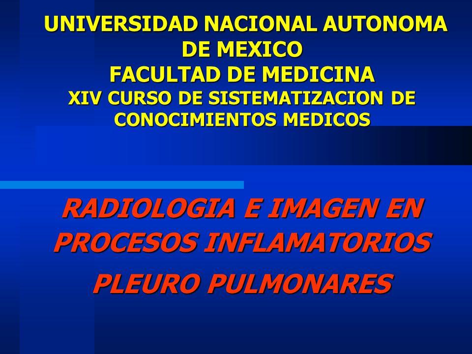 PROCESOS INFLAMATORIOS PULMONARES INDICACION DE RX TORAX Localiza la consolidación pulmonar Demuestra su extensión Asociación o no con derrame pleural Hay o no complicaciones Correlación clínica y laboratorio No es específica para Dx.
