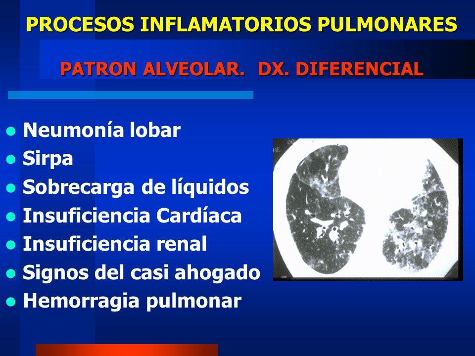 PROCESOS INFLAMATORIOS PULMONARES PATRON ALVEOLAR. DX. DIFERENCIAL Neumonía lobar Sirpa Sobrecarga de líquidos Insuficiencia Cardíaca Insuficiencia re