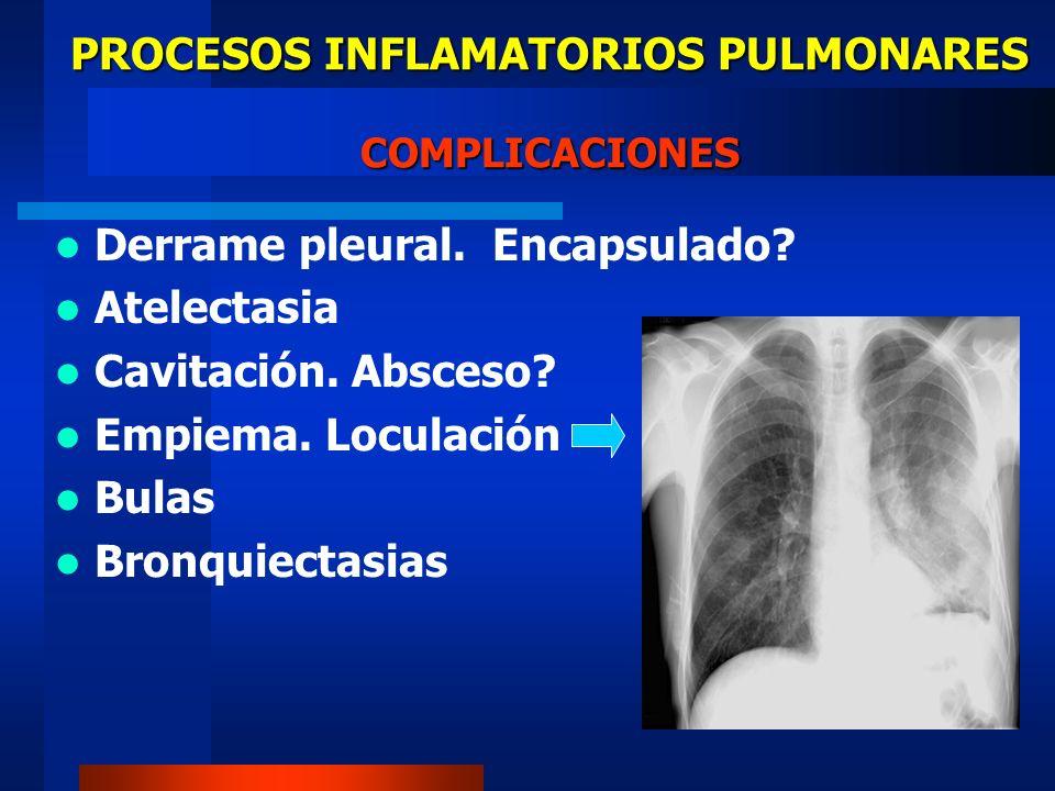 PROCESOS INFLAMATORIOS PULMONARES COMPLICACIONES Derrame pleural. Encapsulado? Atelectasia Cavitación. Absceso? Empiema. Loculación Bulas Bronquiectas