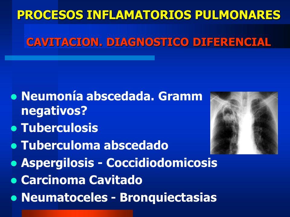 PROCESOS INFLAMATORIOS PULMONARES CAVITACION. DIAGNOSTICO DIFERENCIAL Neumonía abscedada. Gramm negativos? Tuberculosis Tuberculoma abscedado Aspergil
