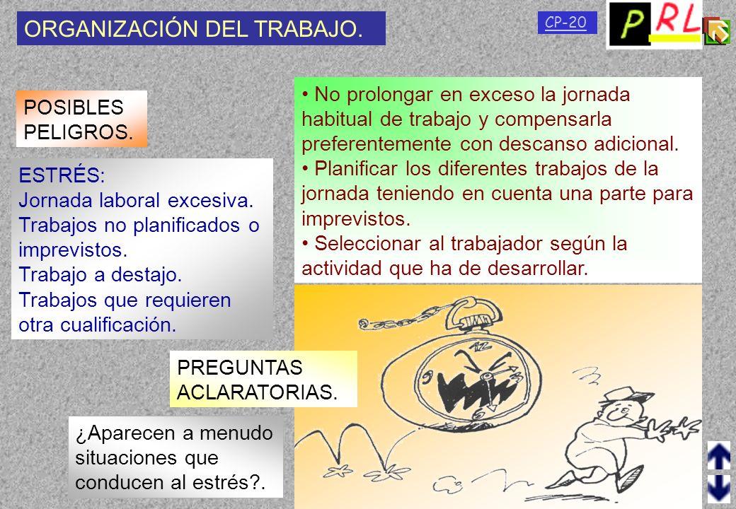 CP-19 POSIBLES PELIGROS. ACTITUD PERSONAL FRENTE AL RIESGO. PREGUNTAS ACLARATORIAS. Escasa información sobre los riesgos laborales. No utilizar método
