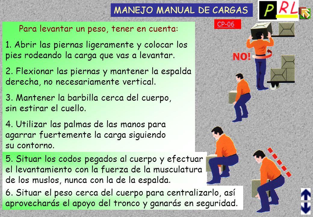 CP-05 Una manipulación inadecuada de una carga, más o menos pesada, puede producir lesiones, ya sean puntuales o acumulativas. MANEJO MANUAL DE CARGAS