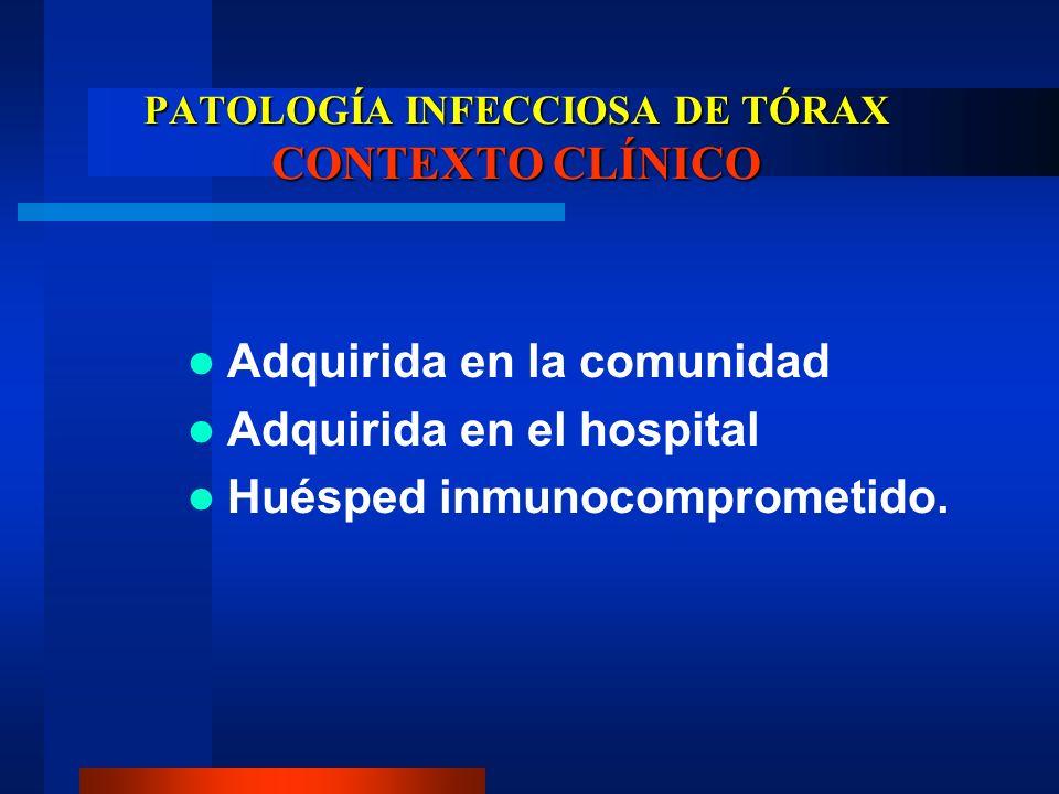 PATOLOGÍA INFECCIOSA DE TÓRAX CONTEXTO CLÍNICO Adquirida en la comunidad Adquirida en el hospital Huésped inmunocomprometido.