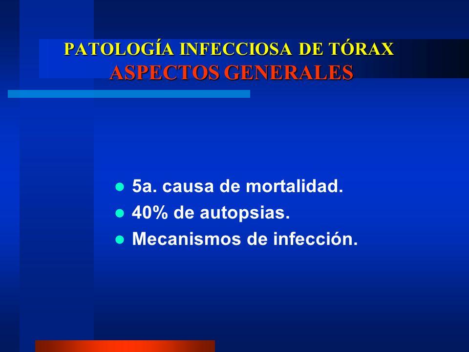 PATOLOGÍA INFECCIOSA DE TÓRAX ASPECTOS GENERALES 5a. causa de mortalidad. 40% de autopsias. Mecanismos de infección.