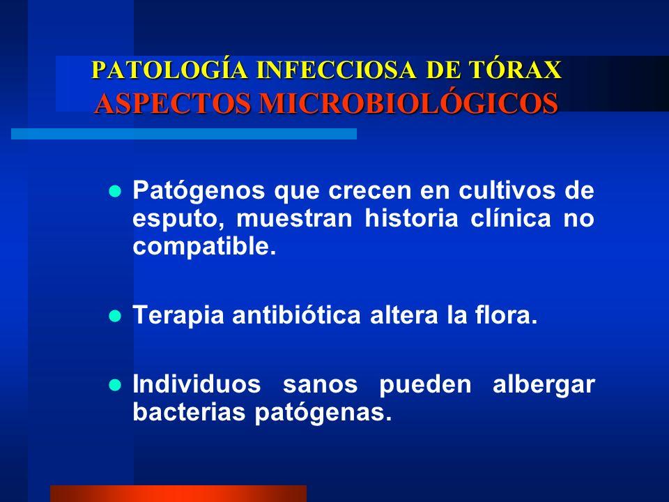 PATOLOGÍA INFECCIOSA DE TÓRAX ASPECTOS MICROBIOLÓGICOS Patógenos que crecen en cultivos de esputo, muestran historia clínica no compatible. Terapia an