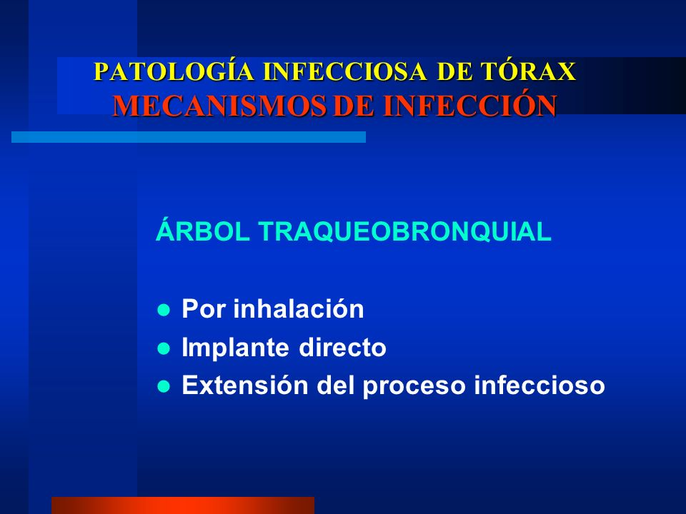 PATOLOGÍA INFECCIOSA DE TÓRAX MECANISMOS DE INFECCIÓN ÁRBOL TRAQUEOBRONQUIAL Por inhalación Implante directo Extensión del proceso infeccioso