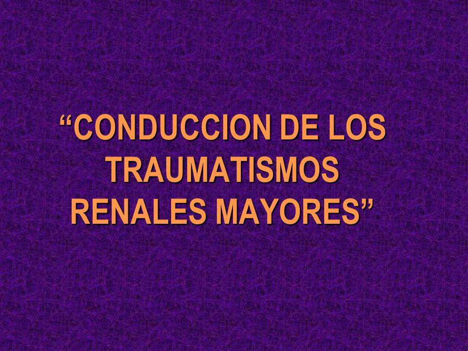 RESONANCIA MAGNETICA Y TRAUMATISMOS RENALES j ATRACTIVA j VENTAJAS: - NO IRRADIA EMBARAZO - NO CONTRASTE RUTINARIO - IMAGENOLOGIA EN VARIOS PLANOS - MENOS ARTEFACTOS o INFERIOR EN LA DEFINICION DE LESIONES PARENQUIMATOSAS o TIEMPO DEL ESTUDIO l NO SE JUSTIFICA SU USO RUTINARIO
