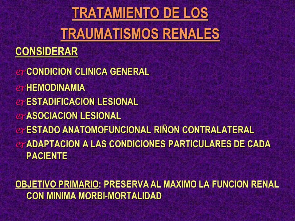 TRATAMIENTO DE LOS TRAUMATISMOS RENALES CONSIDERAR j CONDICION CLINICA GENERAL j HEMODINAMIA j ESTADIFICACION LESIONAL j ASOCIACION LESIONAL j ESTADO