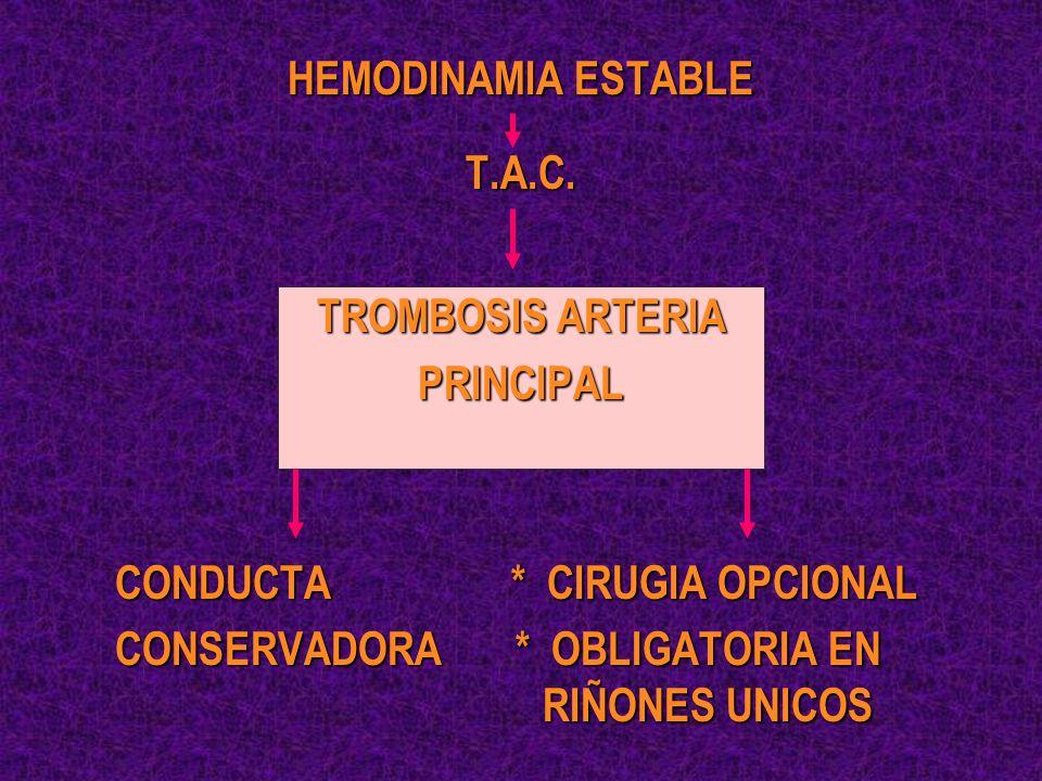 HEMODINAMIA ESTABLE T.A.C. TROMBOSIS ARTERIA PRINCIPAL CONDUCTA * CIRUGIA OPCIONAL CONSERVADORA * OBLIGATORIA EN RIÑONES UNICOS
