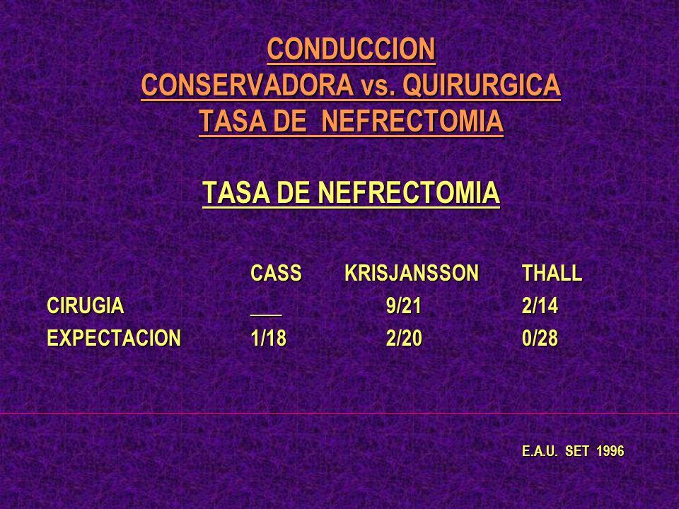 CONDUCCION CONSERVADORA vs. QUIRURGICA TASA DE NEFRECTOMIA TASA DE NEFRECTOMIA CASS KRISJANSSONTHALL CIRUGIA___9/212/14 EXPECTACION1/182/200/28 E.A.U.
