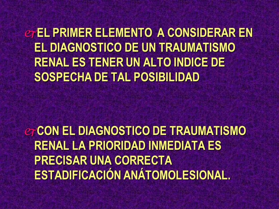 ORIENTACION CLINICO - DIGANOSTICA DE LOS TRAUMATISMOS RENALES j TOPOGRAFIA DEL TRAUMATISMO j TIPO Y FORMA j DESACELERACION BRUSCA j SINDROME ANEMIA AGUDA - SHOCK j DOLOR LUMBAR - CONTRACTURA PARIETAL j HEMATOMA LUMBAR j FACTURAS ULTIMAS COSTILLAS j HEMATURIA j MICROHEMATURIA j HEMATOMA RETROPERITONEAL LATERAL j POLITRAUMATIZADO