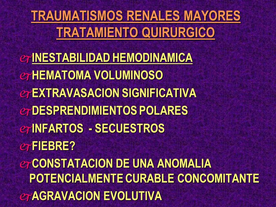 TRAUMATISMOS RENALES MAYORES TRATAMIENTO QUIRURGICO j INESTABILIDAD HEMODINAMICA j HEMATOMA VOLUMINOSO j EXTRAVASACION SIGNIFICATIVA j DESPRENDIMIENTO