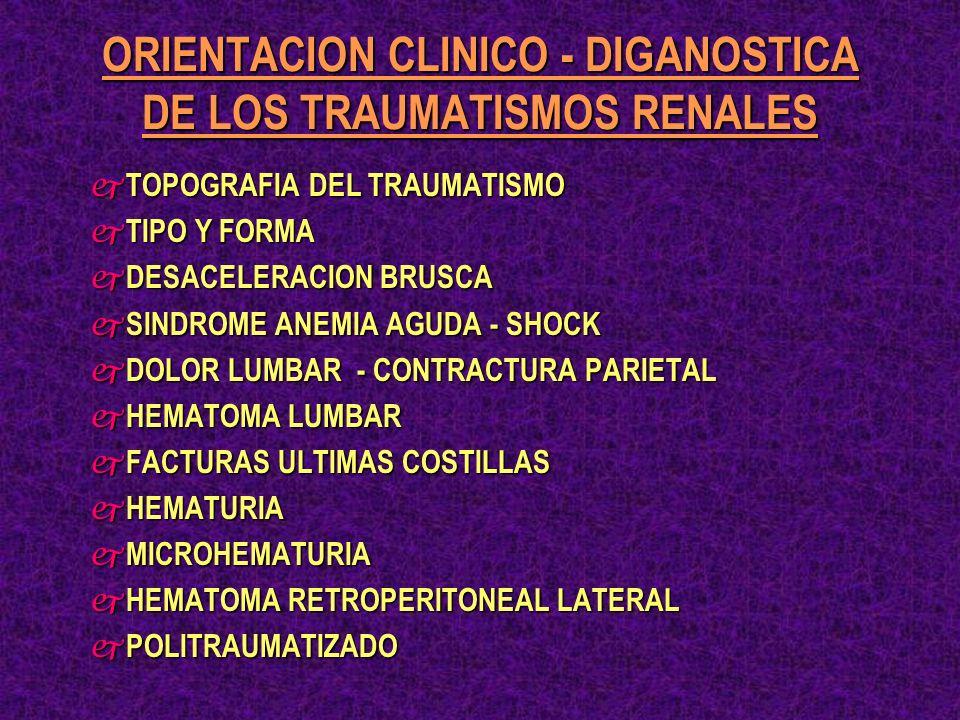 j DISOCIACION ENTRE: INTENSIDAD DEL TRAUMATISMO Y EL GRADO LESIONAL.- j POSIBILIDAD CLINICO - EVOLUTIVAS DE LOS TRAUMATISMOS RENALES: * HEMODINAMIA * HEMODINAMIA * PSEUDO ANEURISMA * PSEUDO ANEURISMA * NECROSIS * NECROSIS * INFECCION * INFECCION j SEMIOLOGIA HEMATOMA * SON INDICES INEQUIVOCOS DE LESION RENAL HEMATURIA * PERO NO SON INDICES SEGUROS DE GRAVEDAD LESIONAL j OPORTUNIDAD DE LA IMAGENOLOGIA