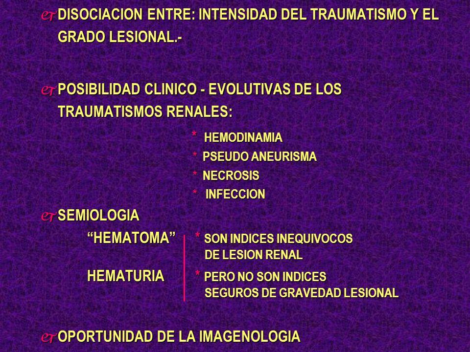HEMATURIA Y TRAUMATISMO RENAL j AUSENTE: 10 - 30% * LESIONES PEDICULARES * LESIONES PEDICULARES * ROTURA PIELOURETERALES * ROTURA PIELOURETERALES * LACERACIONES GRAVES * LACERACIONES GRAVES j NO SE CORRELACIONA OBLIGAORIAMENTE CON LA SEVERIDAD DEL DAÑO RENAL j SU INTENSIVIDAD, PERSISTENCIA O RECURRENCIA SUGIERE UNA INJURIA SEVERA
