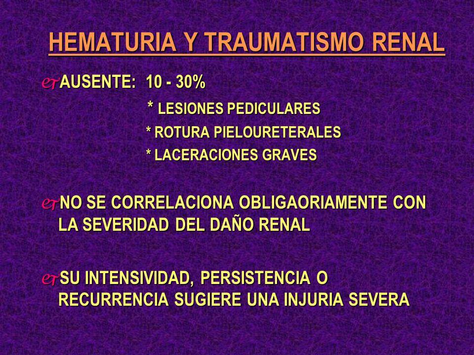 TRAUMAS PENETRANTES TRAUMAS CERRADOS ASOCIADOS A HEMATURIA IMPORTANTE TRAUMAS CERRADOS CON MICROHEMATURIA + SHOCK TRAUMAS CERRADOS EN NIÑOS CON MICORHEMATURIA SOSPECHA DE TRAUMA POR DESACELERACION SIGNOS PERITONEALES U OTRAS INJURIAS ASOCIADAS ESTABILIDAD HEMODINAMICAINESTABILIDAD HEMODINAMICA T.A.C.