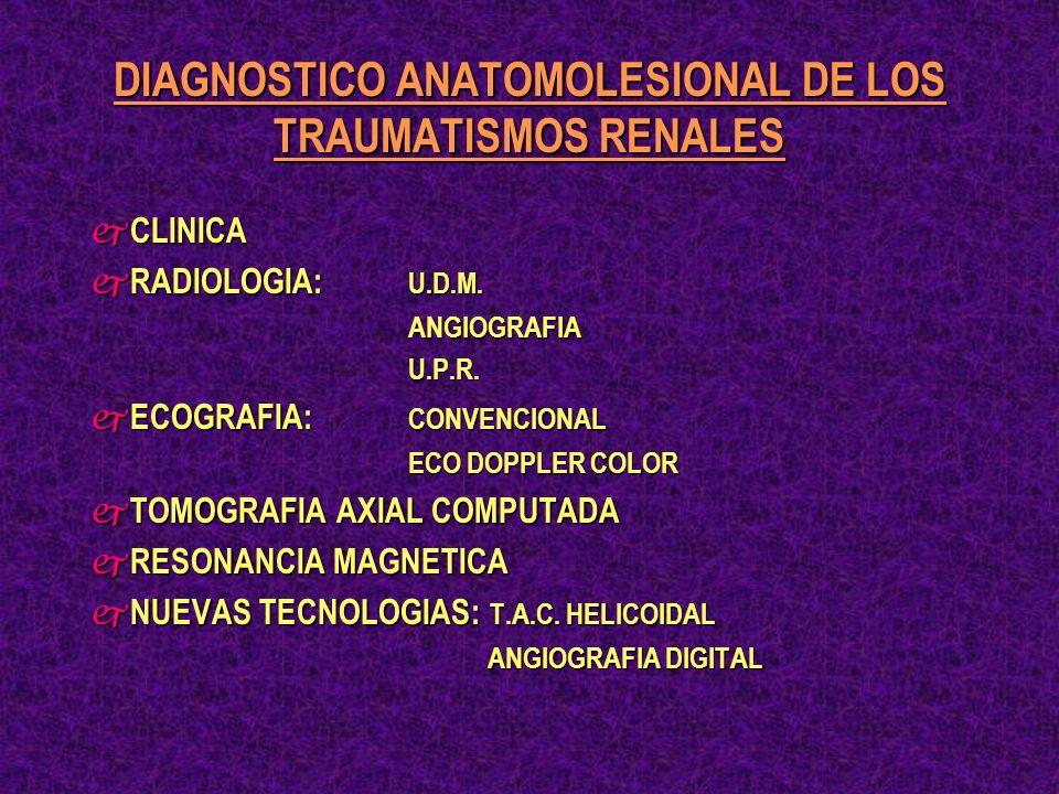 ULTRASONIDO Y TRAUMATISMO RENAL j MUY INSEGURA EN LA ESTADIFICACION LESIONAL j PUEDE DIFERENCIAR UN SIMPLE HEMATOMA SUBCAPSULAR DE UNA LACERACION MAYOR j NO PROPORCIONA: INFORMACION FUNCIONAL INFORMACION FUNCIONAL PRESENCIA FRAGMANETOS AVASCULARES PRESENCIA FRAGMANETOS AVASCULARES EXTRAVASACION URINARIA EXTRAVASACION URINARIA DISRUPCION CALICIAL DISRUPCION CALICIAL l PRESENCIA RENAL l IMPORTANCIA DEL HEMATOMA l UTIL, PARA EL SEGUIMIENTO DE URO-HEMATOMAS