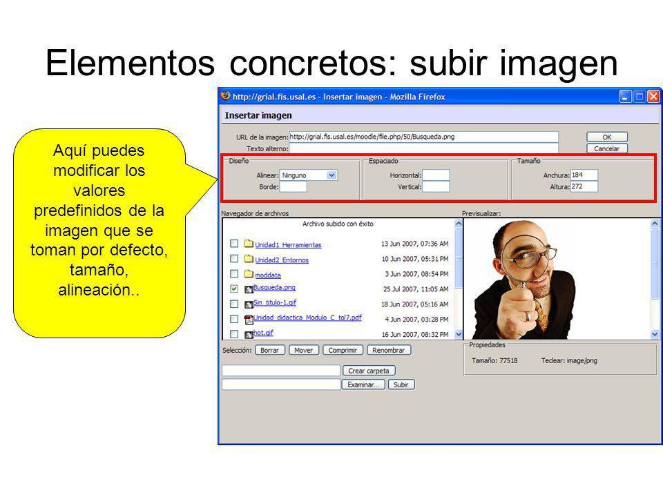 Elementos concretos: subir imagen Aquí puedes modificar los valores predefinidos de la imagen que se toman por defecto, tamaño, alineación..
