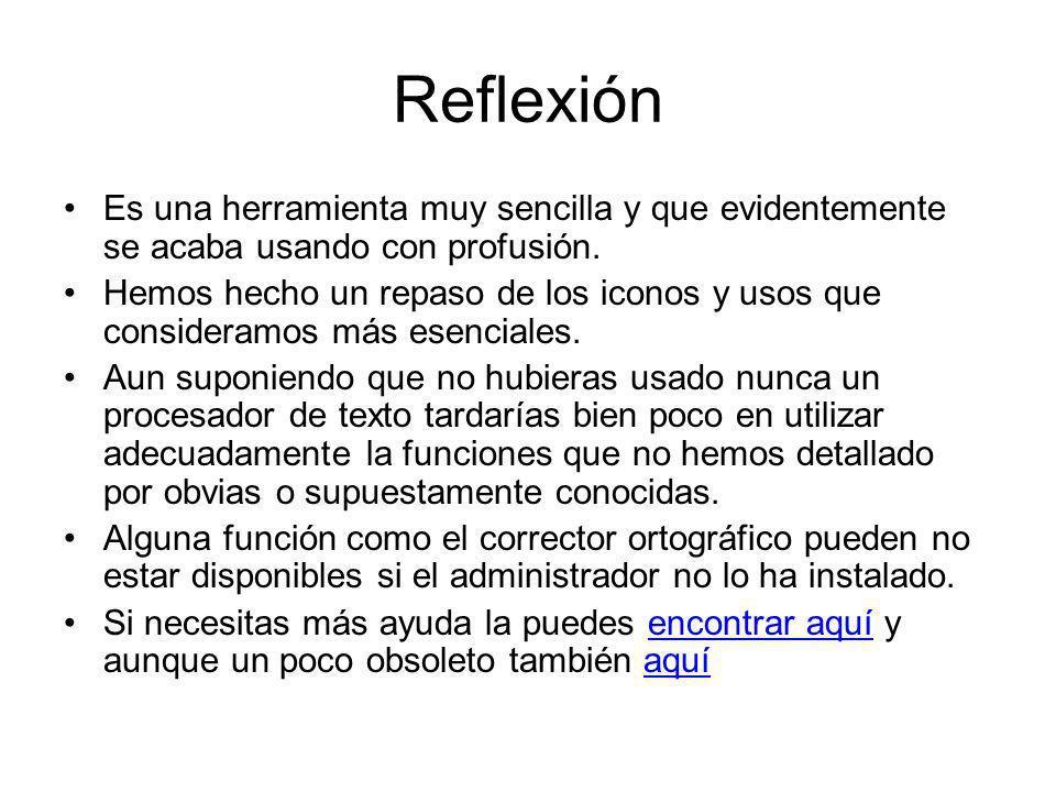 Reflexión Es una herramienta muy sencilla y que evidentemente se acaba usando con profusión. Hemos hecho un repaso de los iconos y usos que consideram