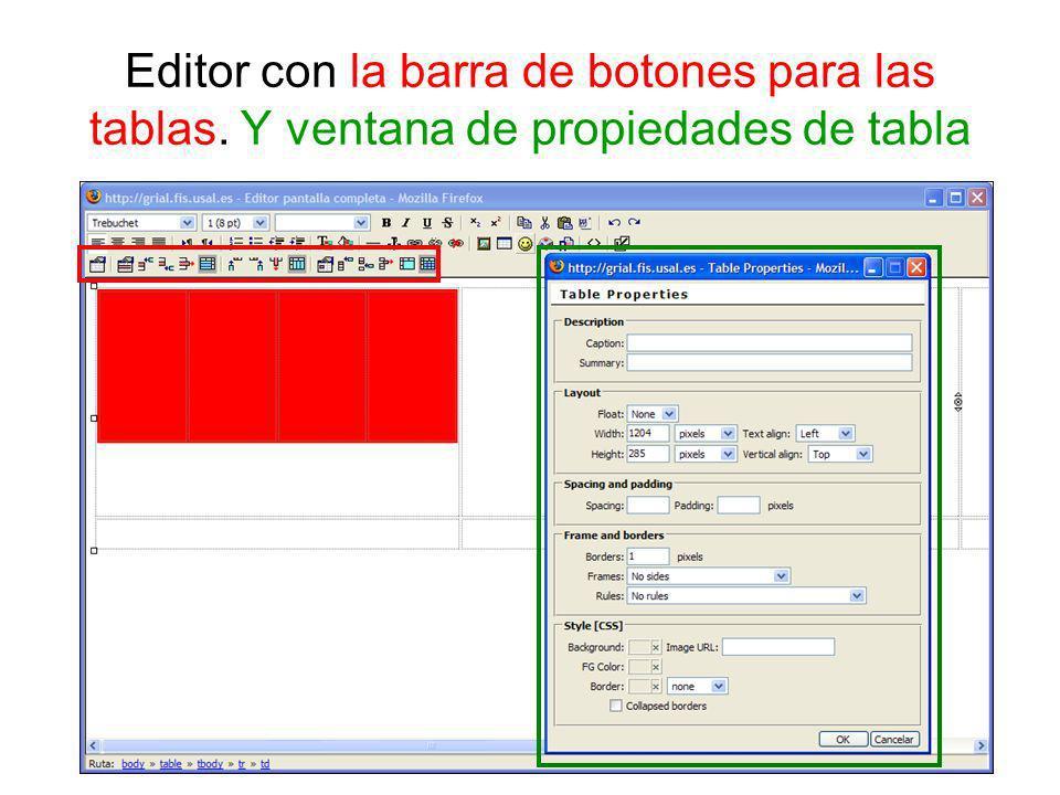 Editor con la barra de botones para las tablas. Y ventana de propiedades de tabla